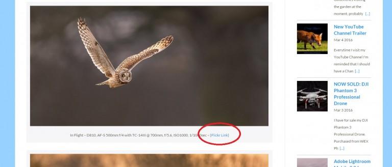 Flickr Link on embedded image